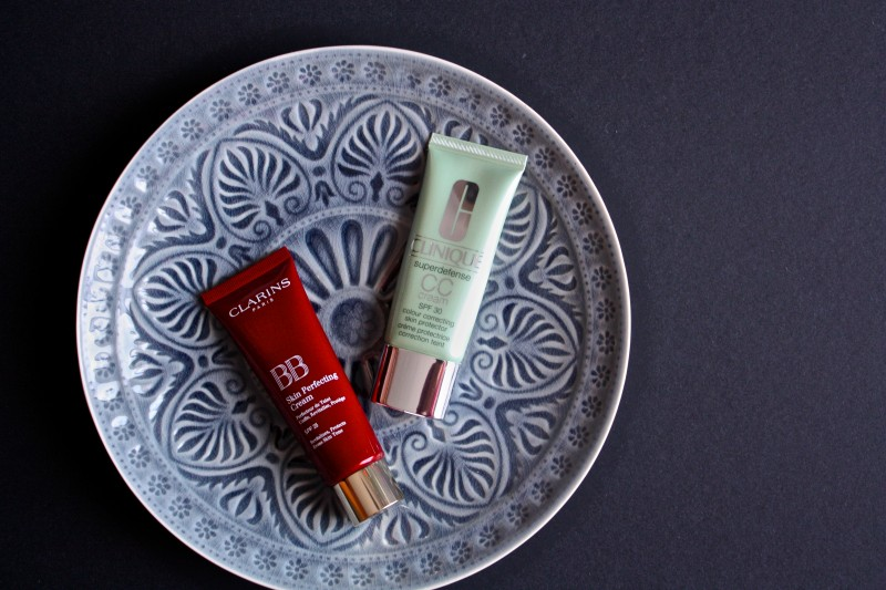 Clarins BB Skin Perfecting Cream and Clinique Superdefense CC Cream